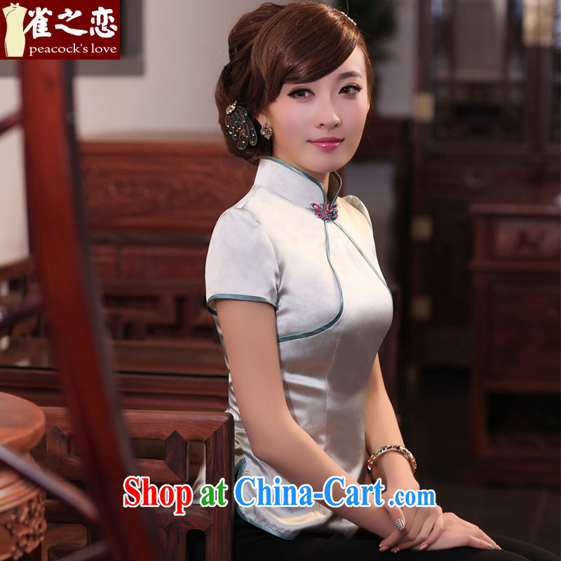 Birds of surplus land in spring 2015 the new Chinese Antique short Silk Cheongsam shirt QD 531 silver L