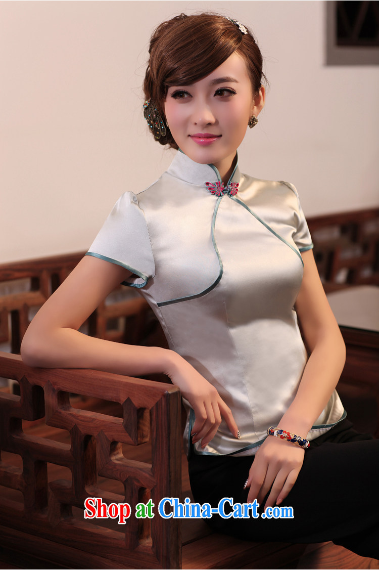 Birds of surplus land in spring 2015 the new Chinese Antique short Silk Cheongsam shirt QD 531 silver XXXL pictures, price, brand platters! Elections are good character, the national distribution, so why buy now enjoy more preferential! Health