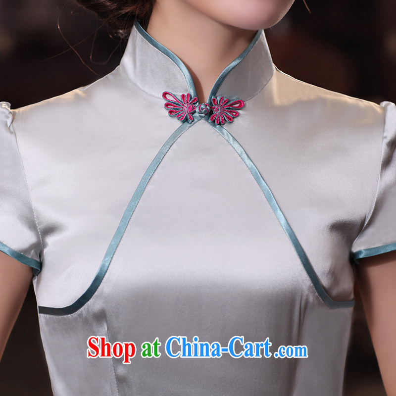 Birds of surplus land in spring 2015 the new Chinese Antique short Silk Cheongsam shirt QD 531 silver XXXL, birds love, and shopping on the Internet