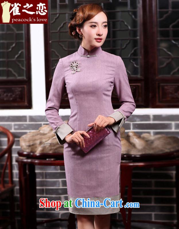 Bird lovers of wood-cotton 2015 spring new cheongsam dress improved fashion so stitching long-sleeved qipao QC 522 light purple S