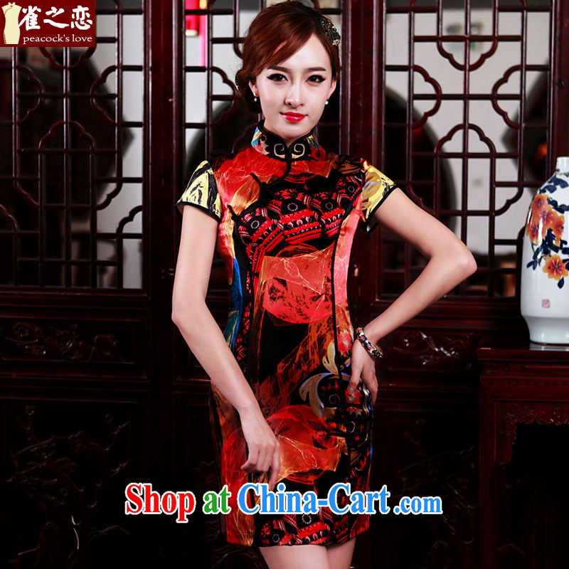 Bird lovers of the Hong Kong Canada micro 2015 spring new daily video thin Silk Cheongsam as XXXL
