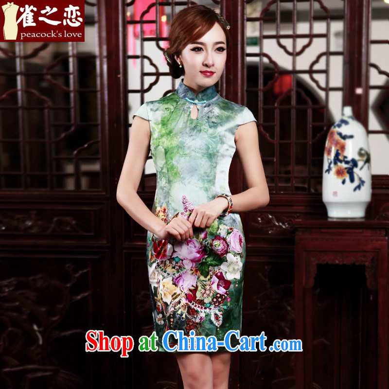 Birds love the color 2015 spring new stylish improved short silk positioning take short-sleeved qipao QD 527 figure XXXL