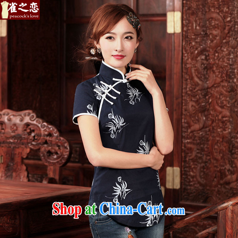 Birds love to chat poems 2015 spring new traditional Hmong batik short cotton the cheongsam shirt Indigo XXXL