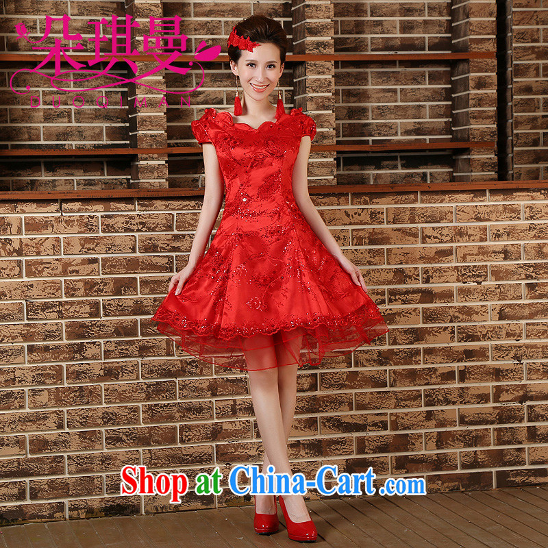 Flower Angel, summer 2014 new stylish short bride toast loaded stage dress wedding dress red dresses XXL