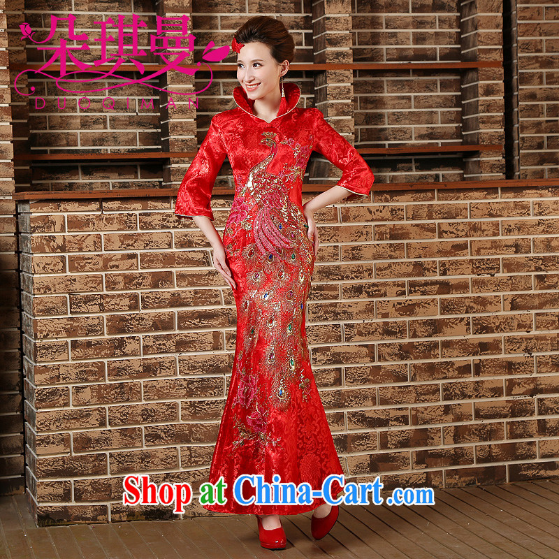 Flower Angel Cayman 2014 New back door onto the collar dress etiquette macrame red bows with dress cheongsam red XXL