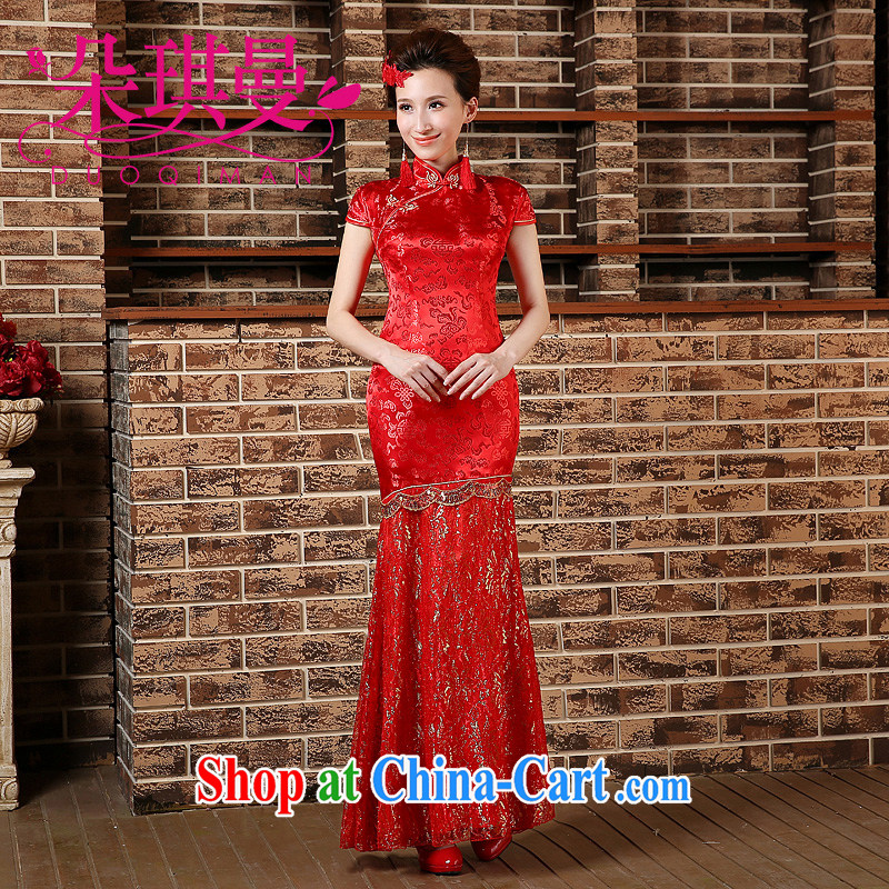 Flower Angel Cayman new marriage bridal cheongsam embroidered Bong-long red dresses and stylish graphics thin, cheongsam dress evening dress uniform toasting red XXL