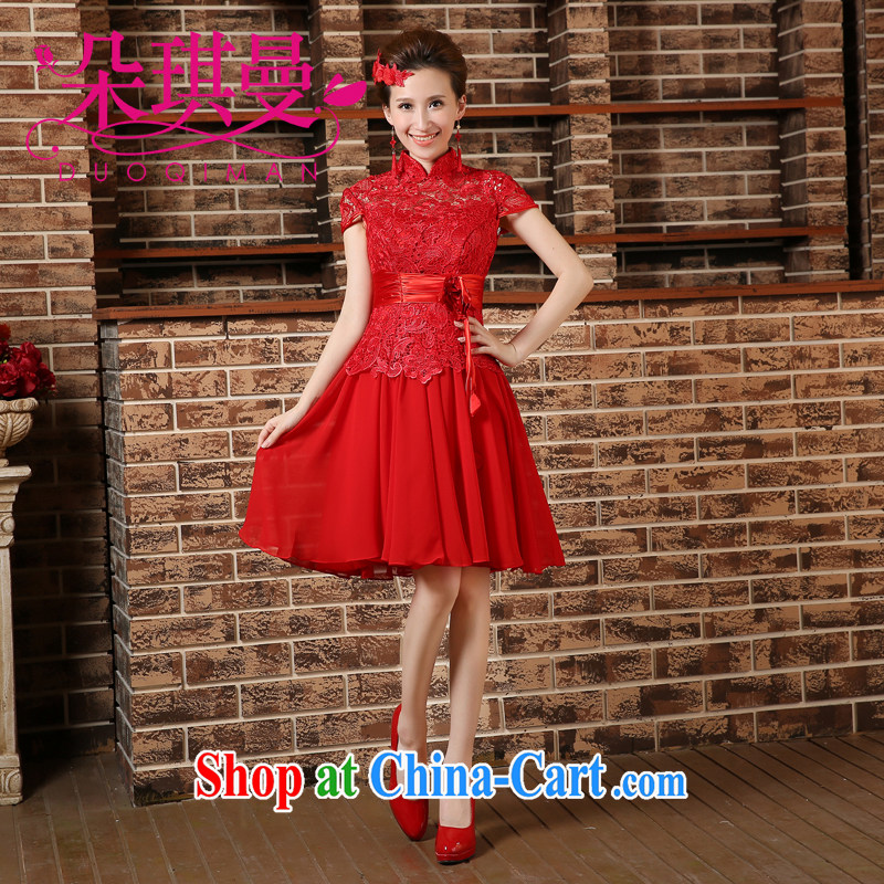 Flower Angel Cayman 2014 wedding dresses sexy short dresses red lace Openwork marriages small dress uniform toasting red XXL