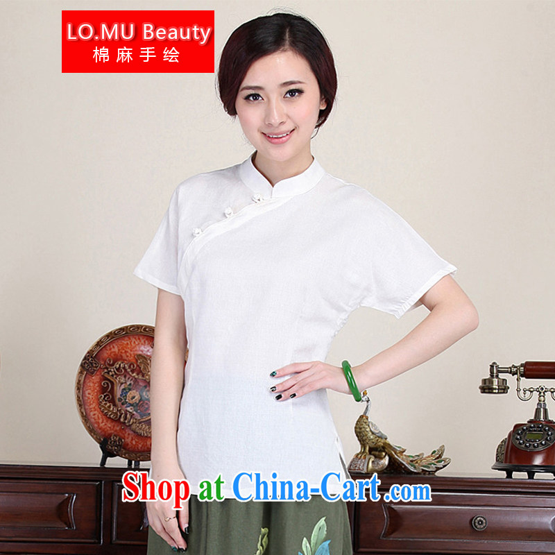 LO . MU Beauty autumn ladies' short-sleeve cotton Ma white macrame-tie Chinese China wind white XXL the XL