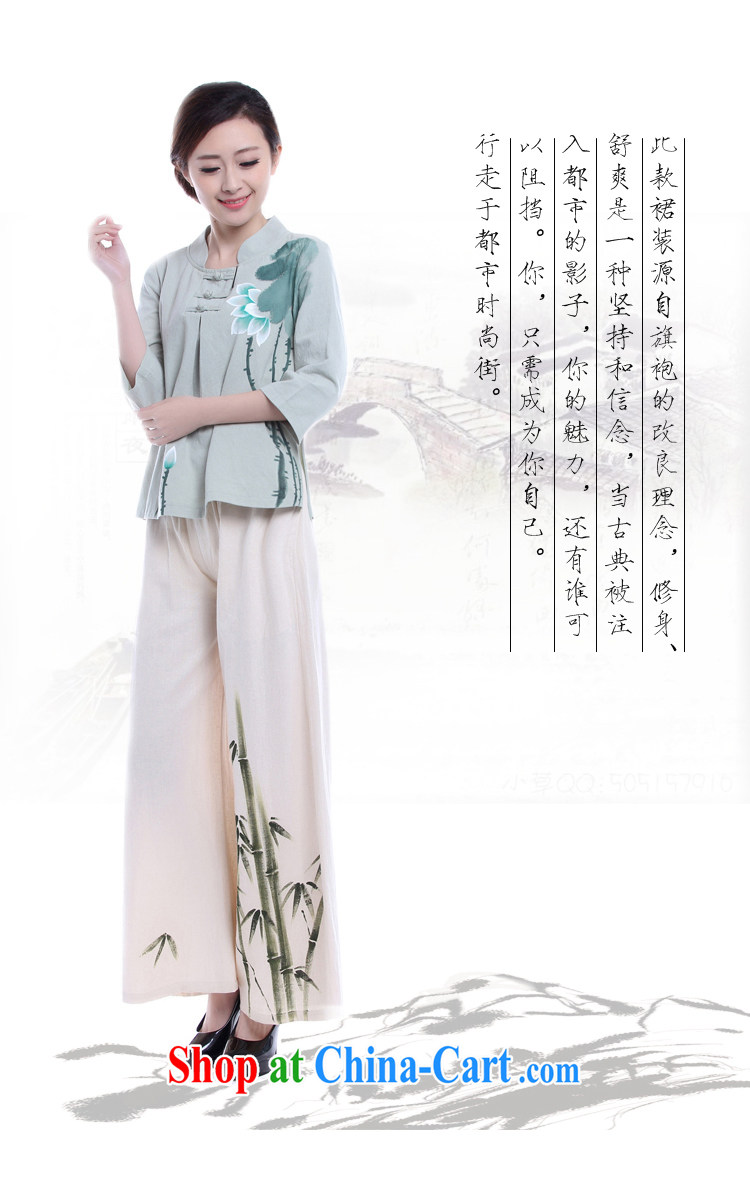 LO . MU Beauty autumn cotton the female hand-painted Lotus 7 cuff antique hand-tie China wind jacket green L (the Code) pictures, price, brand platters! Elections are good character, the national distribution, so why buy now enjoy more preferential! Health