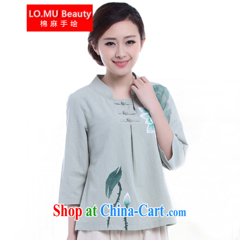 LO . MU Beauty autumn cotton the female hand-painted Lotus 7 cuff antique hand-tie China wind jacket green L (the Code), LO . MU Beauty, shopping on the Internet