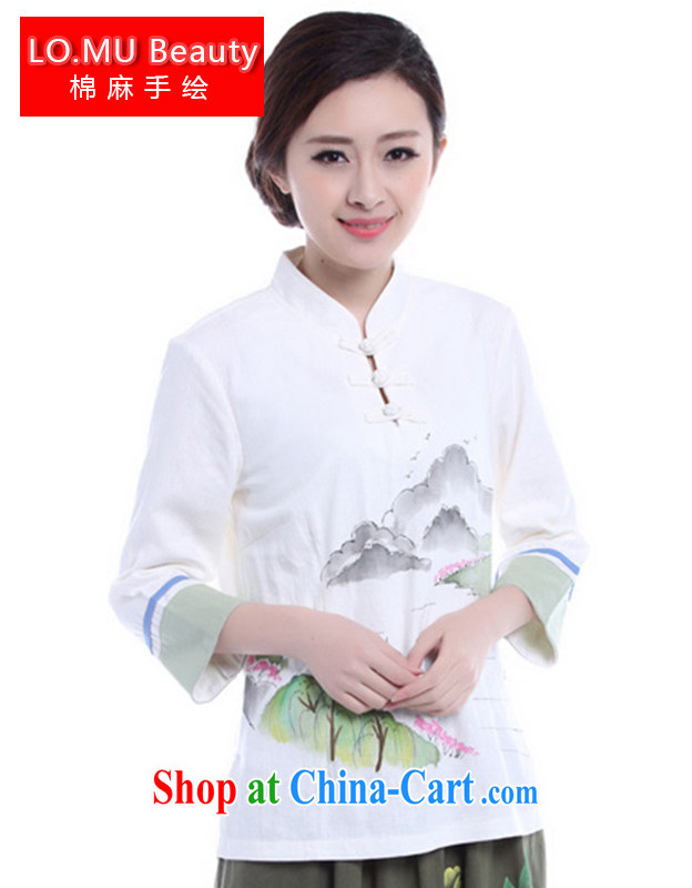 LO . MU Beauty cotton the girl fall, small, for a hand-painted T-shirt improved Chinese Han-summer retro art Feng Shui the landscape white XXL the XL