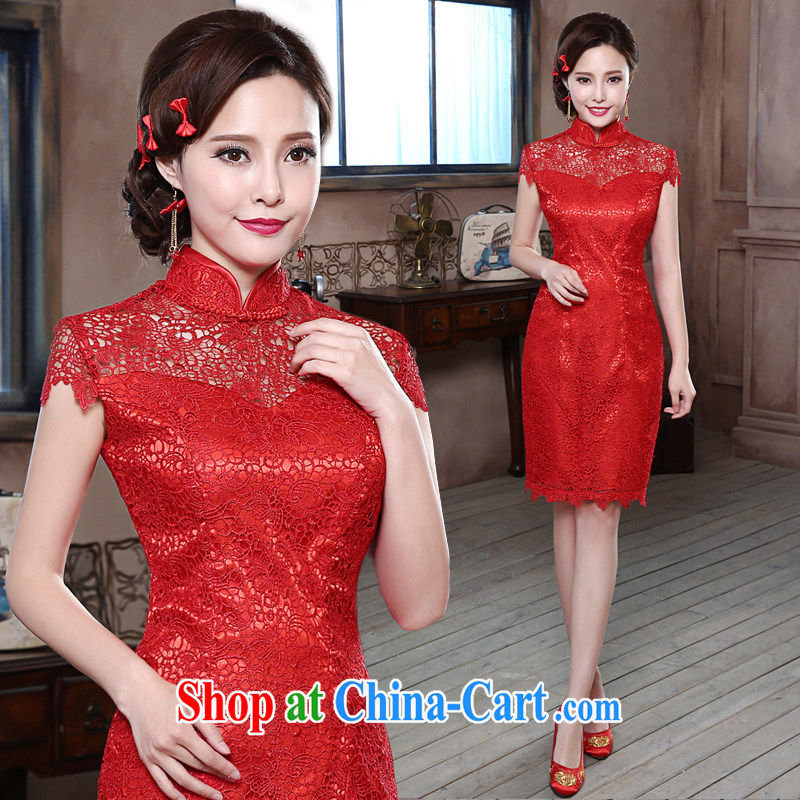 wedding dresses 2014 New Red Snow woven lace package shoulder improved short cheongsam Q 857 red lace, tailored information service