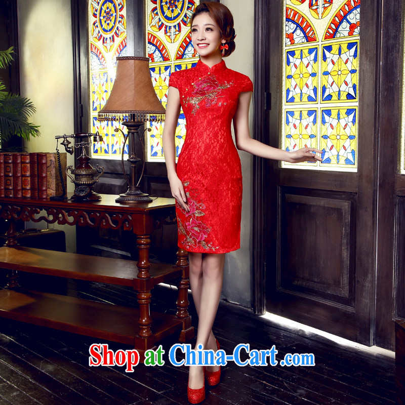 bridal dresses have been overstretched cheongsam improved modern and simple in short, cultivating bridal wedding dresses bows dress red tailored