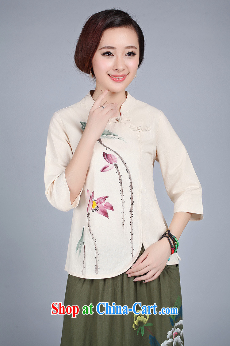 LO . MU Beauty autumn 2014 ladies cotton the retro Lotus hand-painted short cheongsam girls T-shirt with short yellow XXL the XL pictures, price, brand platters! Elections are good character, the national distribution, so why buy now enjoy more preferential! Health