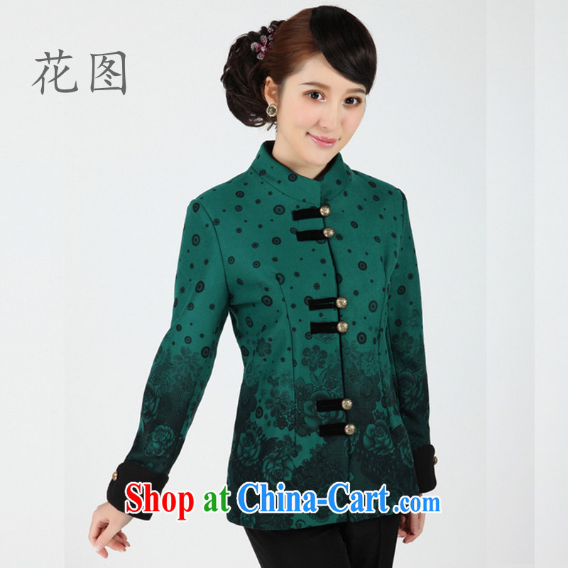 The payment takes the new autumn and winter in women older Chinese blouses, for long-sleeved clothing Ethnic Wind beauty graphics thin - 5 hole blue 4 XL