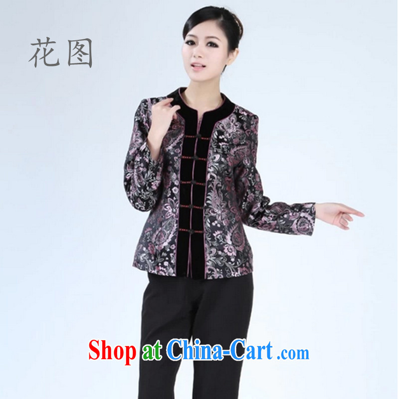Take the new Autumn with Chinese blouses wool flap clothing improved Chinese clothing, for cultivating graphics thin - 2 black 3 XL