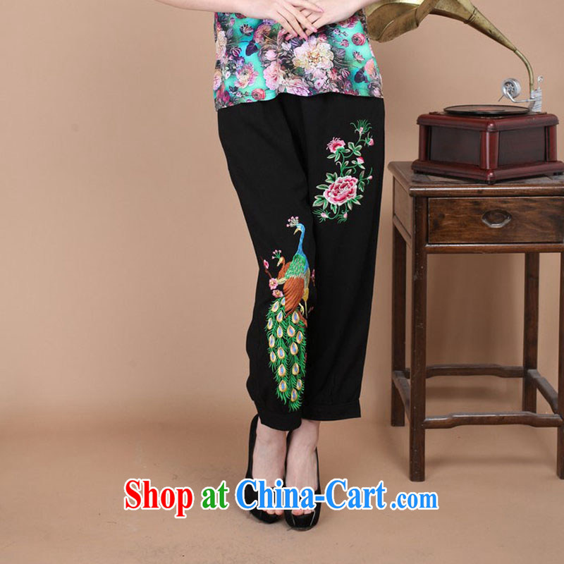 Autumn 2014 the new Korean spring loaded Tang Dress Pants cotton pants women Ethnic Wind Han-wide embroidery girls pants FG - 1 black XXL