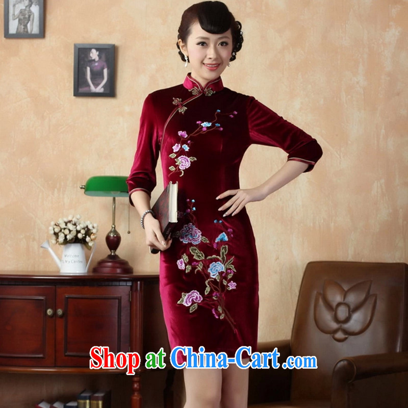 Take the fall with new dresses Tang Women's clothes, collar stretch the wool embroidery, short sleeves cheongsam picture color 2 XL
