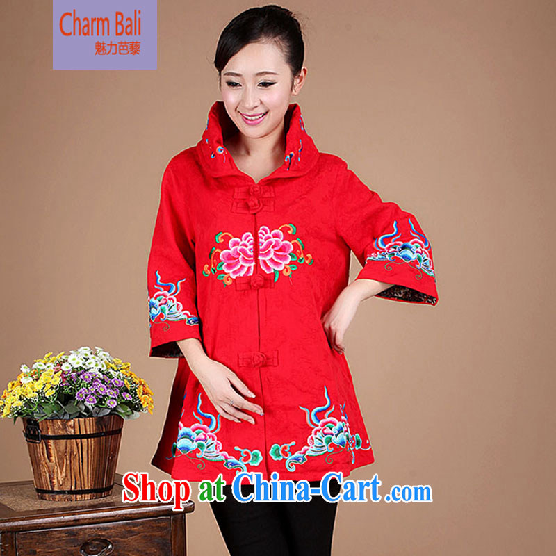 2014 spring loaded Tang in long cotton T-shirt Chinese Ethnic Wind female FG 65 red XXXL