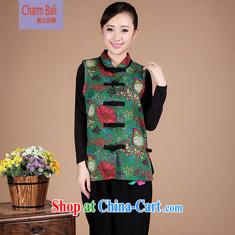 2014 Spring and Autumn and cultivating cotton stamp Chinese China National wind a jacket FG 91 green XL