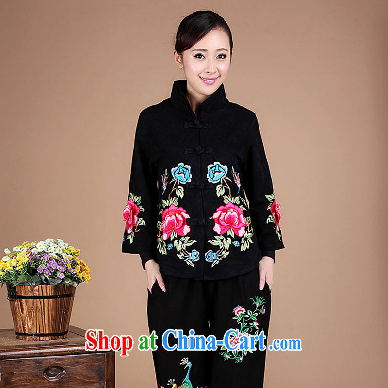 2015 spring loaded Korean embroidery cotton jacquard Chinese Ethnic Wind Tang jackets female FG 01 black XXXL