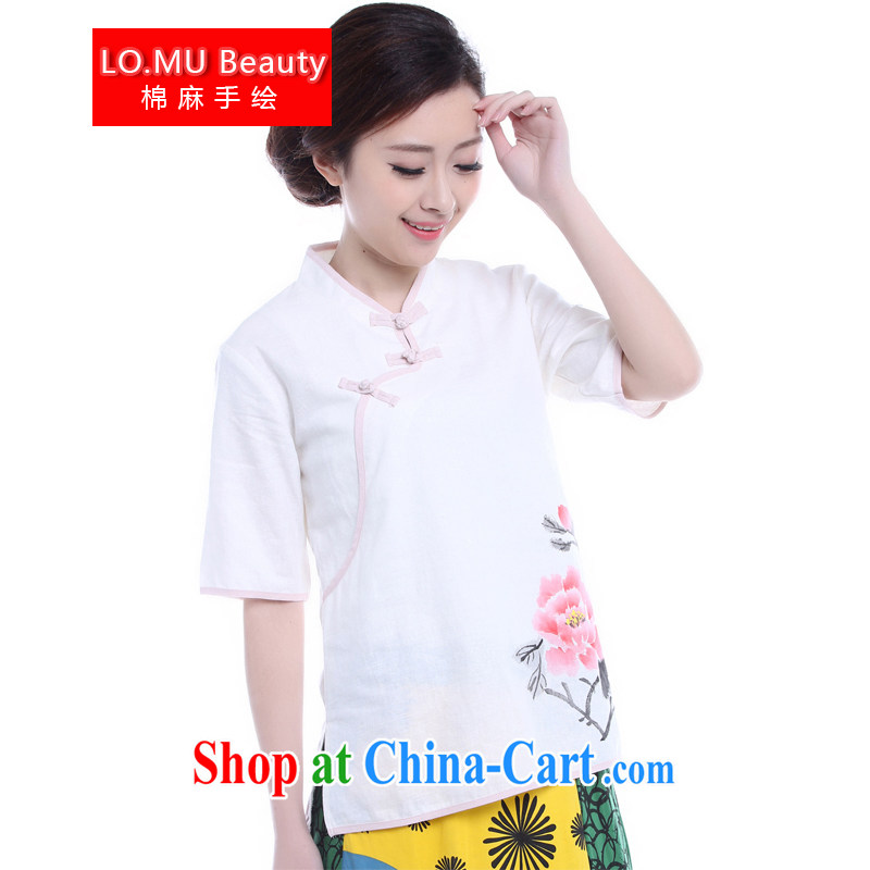 LO . MU Beauty original cotton the autumn, pink Peony hand-painted Chinese style Chinese Antique leisure Chinese T-shirt ladies white XS small code