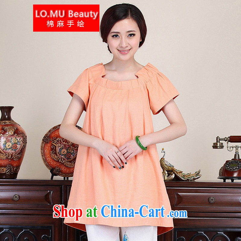 LO . MU Beauty autumn ladies' China's air-quality color cotton the classic fans hem for dolls with long T-shirt, light orange color code
