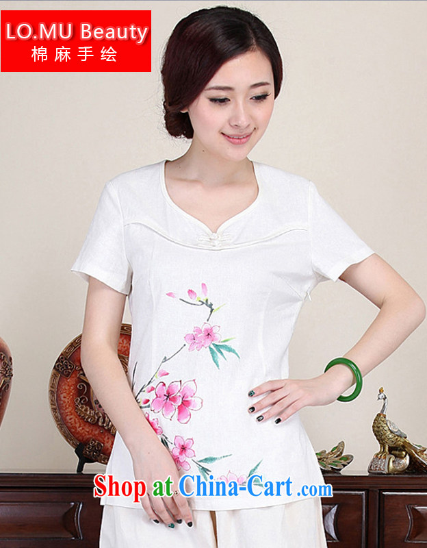 LO . MU Beauty 2014 summer cotton the female hand painted mahogany short-sleeved T-shirt retro-buckle avenue for Chinese China wind white XXL the XL