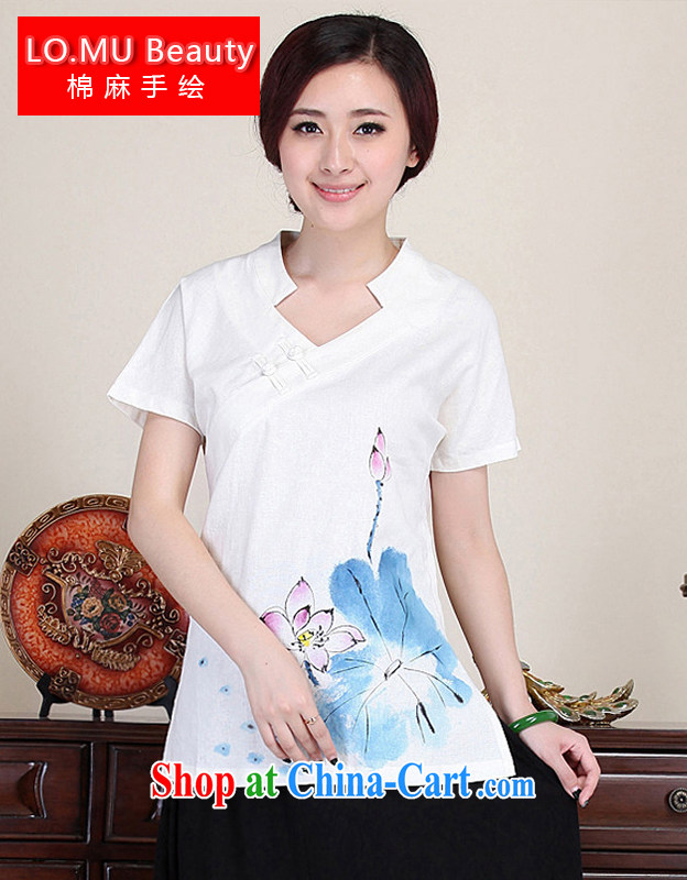 LO . MU Beauty original cotton the female hand-painted Lotus T-shirt Chinese wind-tie short-sleeved business for Chinese White XXL the XL