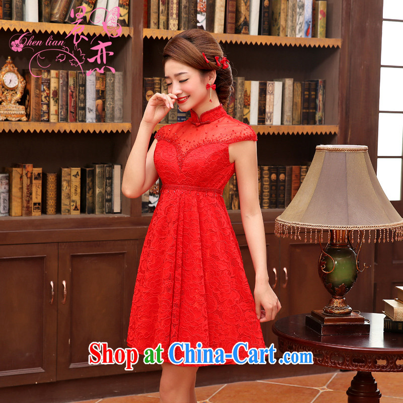 Morning love 2014 new dresses wedding dress short dress red lace retro improved wedding bridal toast serving red XXL