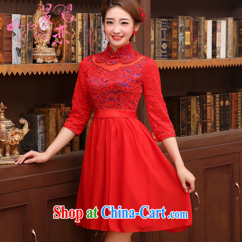 Morning land improvement marriage dresses red bows service bridal dresses stylish short sleeves, lace 2014 New Red XXL
