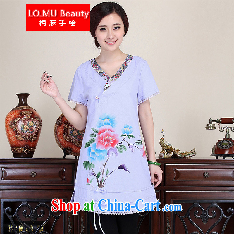 LO . MU Beauty autumn basket, the female Chinese wind master hand painted Peony shirt-buckle cuff Chinese violet XXL the XL