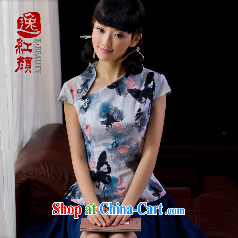 once and for all elections as soon as possible without wind energy linen improved cheongsam shirt female China wind Chinese, summer 026 WJ D ink butterfly S