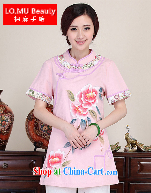 LO . MU Beauty 2014 season female China wind hand-painted flowers rich Peony shirt-buckle cuff cotton the Chinese Pink XXL the XL