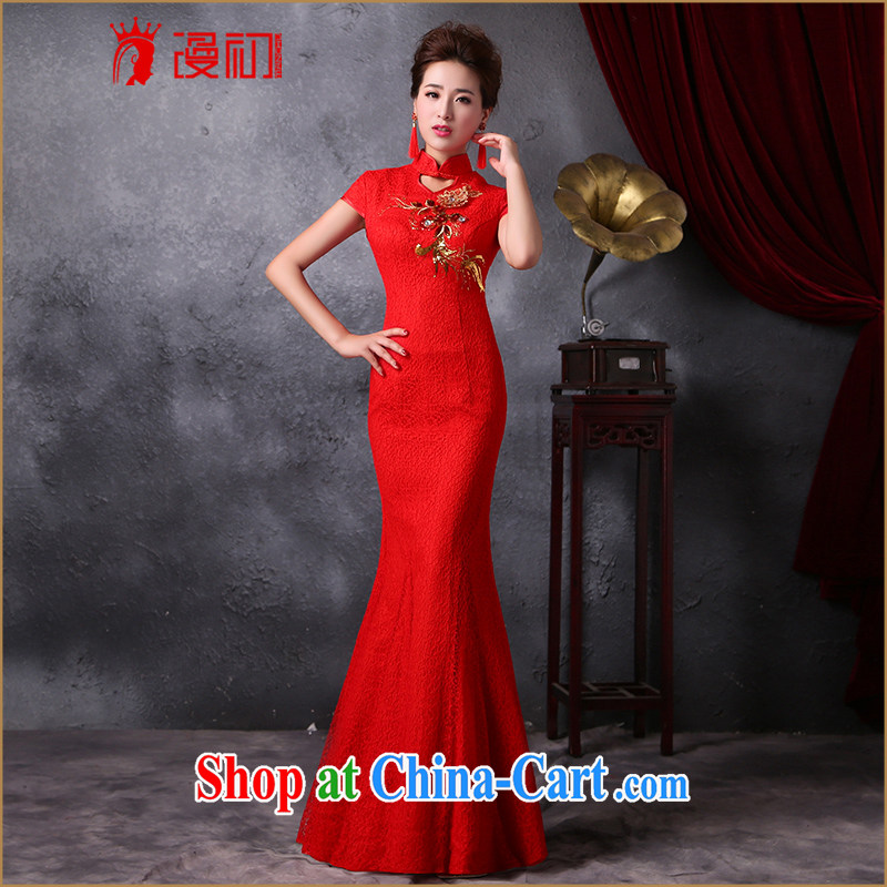 Definition 2015 early spring beauty stylish new outfit long retro improved crowsfoot cheongsam style wedding dress red XXL