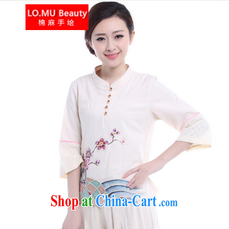 LO . MU Beauty 2014 Autumn Chinese cotton Ma girl T-shirt hand-painted Phillips-head, 7 for the cuff Chinese Ethnic Wind T-shirt m White L (the Code)