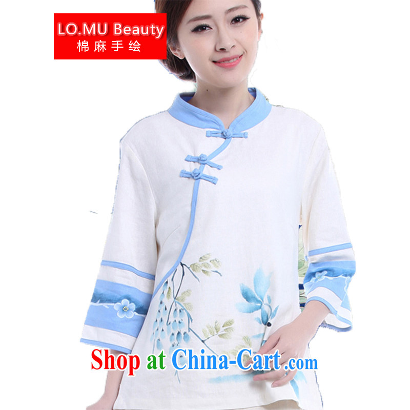 Fall 2014 Women's clothes painted pale blue lotus Chinese style retro the Chinese Tang 7 sub-sleeved shirt white XL XL