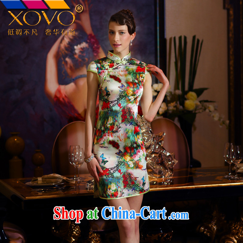 XOVO upscale female 2014 summer improved stylish Silk Cheongsam dress short-sleeved retro Silk Cheongsam dress Shing Garden dance butterfly XL