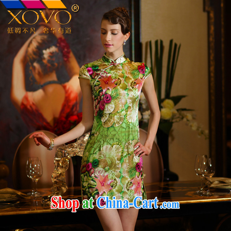XOVO upscale female 2014 summer short-sleeve stamp Silk Cheongsam shirt retro sauna Silk Cheongsam see Wicked XXL