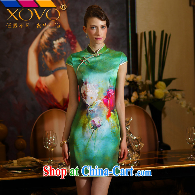 XOVO big boutique girls 2014 summer improved stylish Silk Cheongsam retro Silk Cheongsam dress green garden Peony XXL