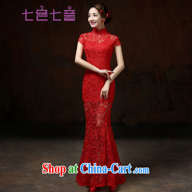 7 color 7 tone 2015 new marriage short dress red lace retro improved wedding bridal toast clothing cheongsam dress QP 001 red long M (waist 2 feet 1)