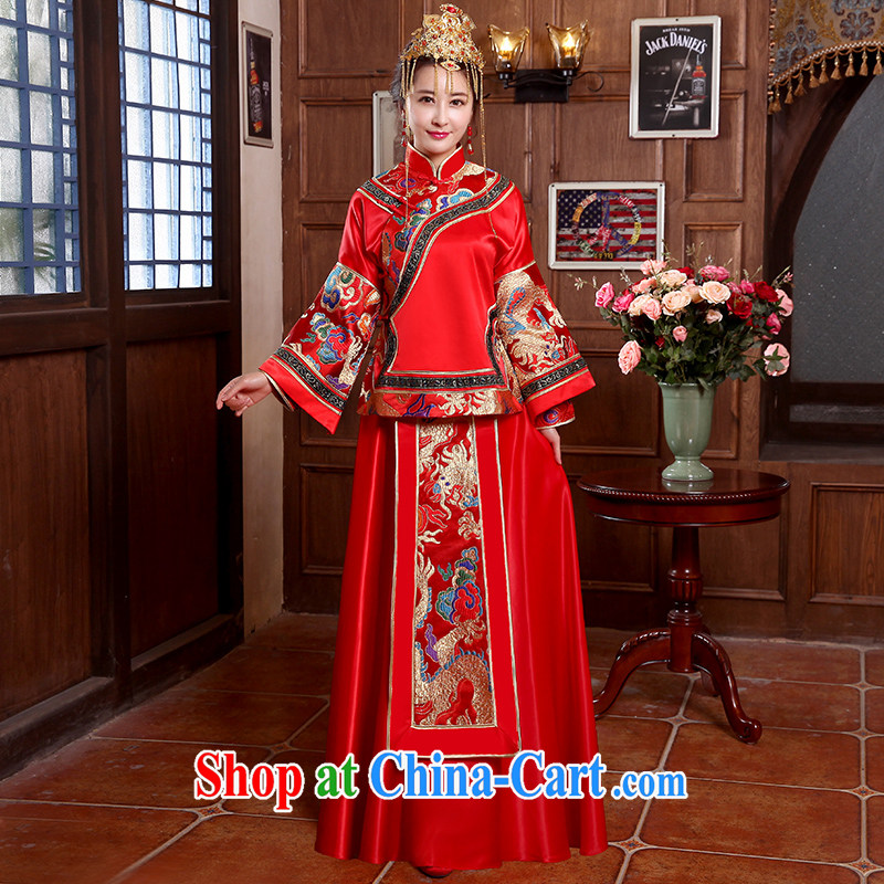 2015 spring_summer new marriages red long-sleeved toast serving Chinese style wedding dresses long-sleeved gown Sau Wo service use phoenix retro married Yi red XL