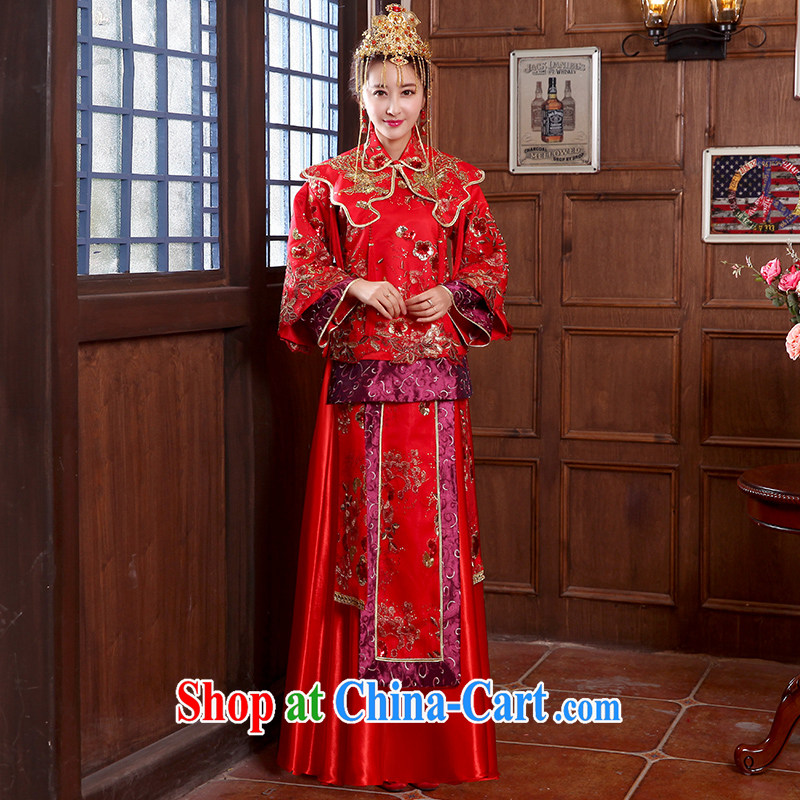 2015 spring and summer new bride wedding dresses red toast serving Chinese style wedding dresses long-sleeved Sau Wo service use phoenix retro married Yi red XL