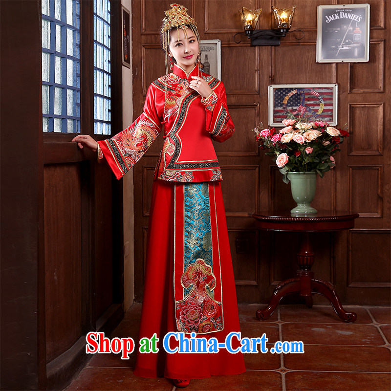 2015 spring and summer bridal wedding dresses red toast serving Chinese style wedding dresses long-sleeved Sau Wo service use phoenix retro married Yi red XL