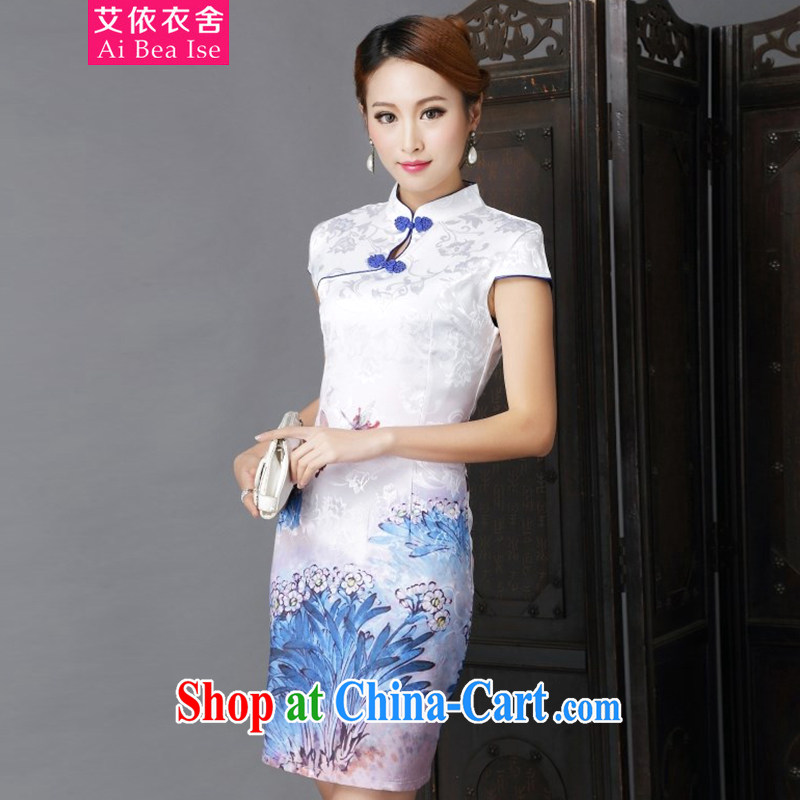 According to the garment care 2014 national style in a new, Chinese style improved Daily Beauty sexy cheongsam dress 6632 #dark blue XL