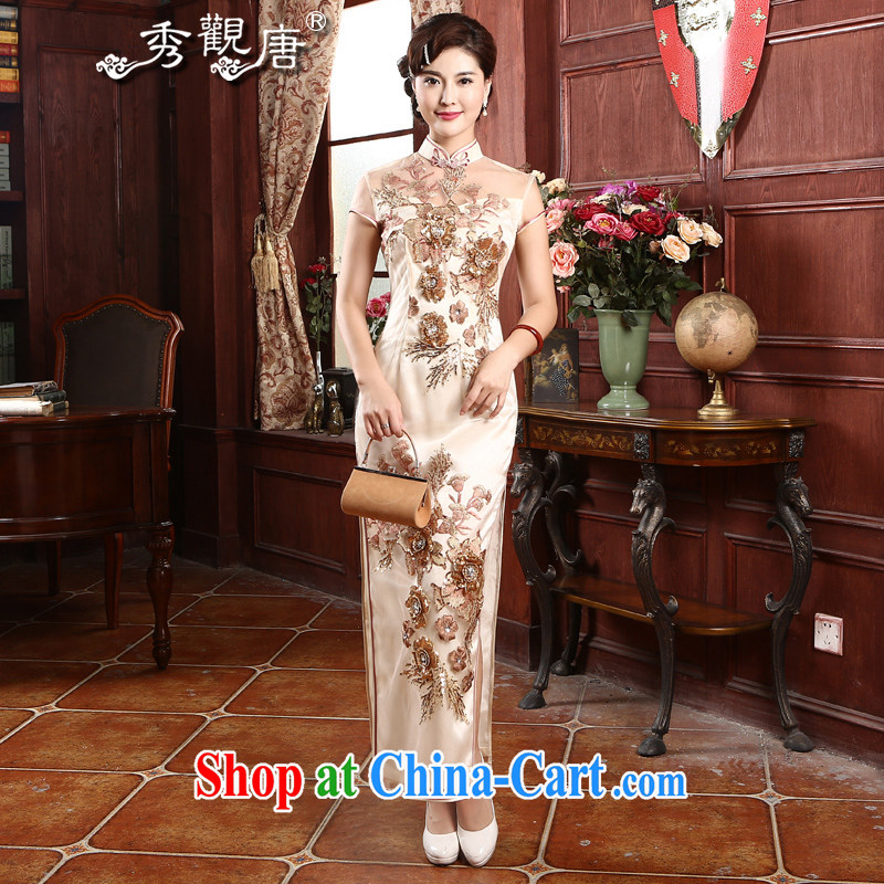 The CYD HO Kwun Tong Hong Kong' following the yarn embroidery cheongsam 2015 summer banquet long upscale retro dresses dress apricot XXL