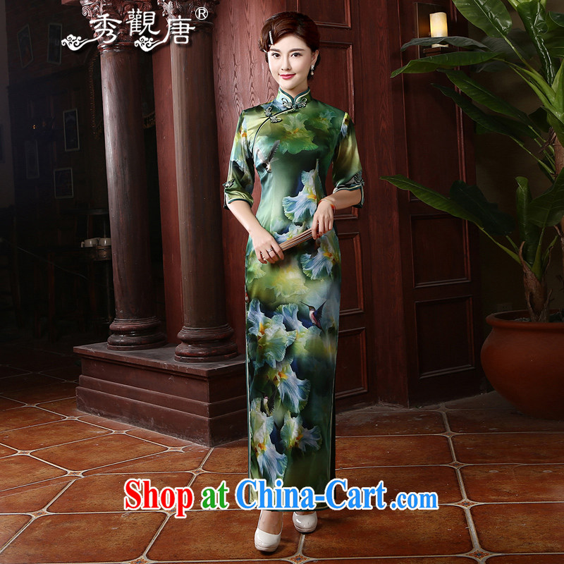 The CYD HO Kwun Tong' Purple Tsui retro long Silk Cheongsam autumn 2015 in Lausanne cuff Silk Cheongsam high load MOM 4707 QZ XXL suit