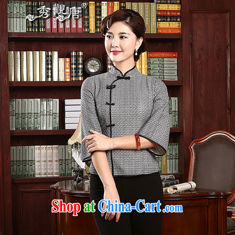 The CYD HO Kwun Tong' knowledge, 2015 spring new Ms. replacing Chinese improved retro dresses T-shirt TZ 4736 gray XXL