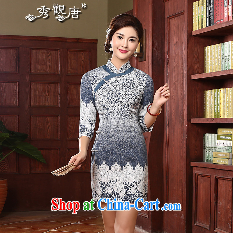 The CYD HO Kwun Tong' blue autumn with antique dresses 2015 New Beauty stamp cheongsam dress QZ 4729 blue M