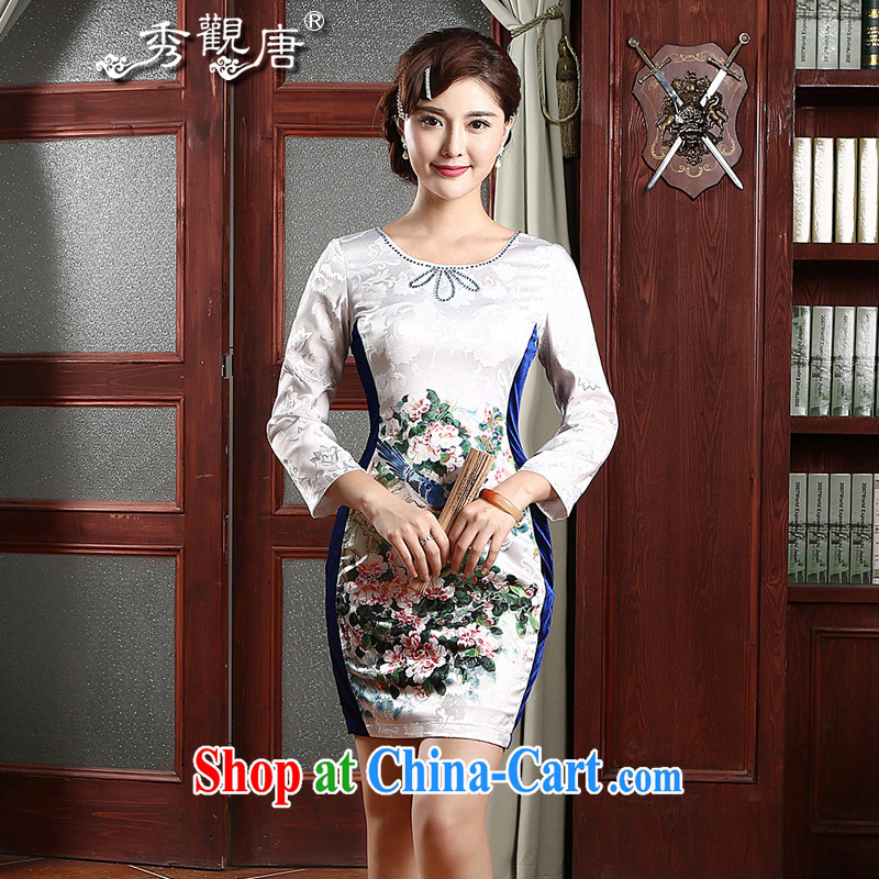 The CYD HO Kwun Tong' hi-chih jacquard cotton cultivating cheongsam dress spring 2015 the new, improved cuff cheongsam dress QZ 4741 white XXL